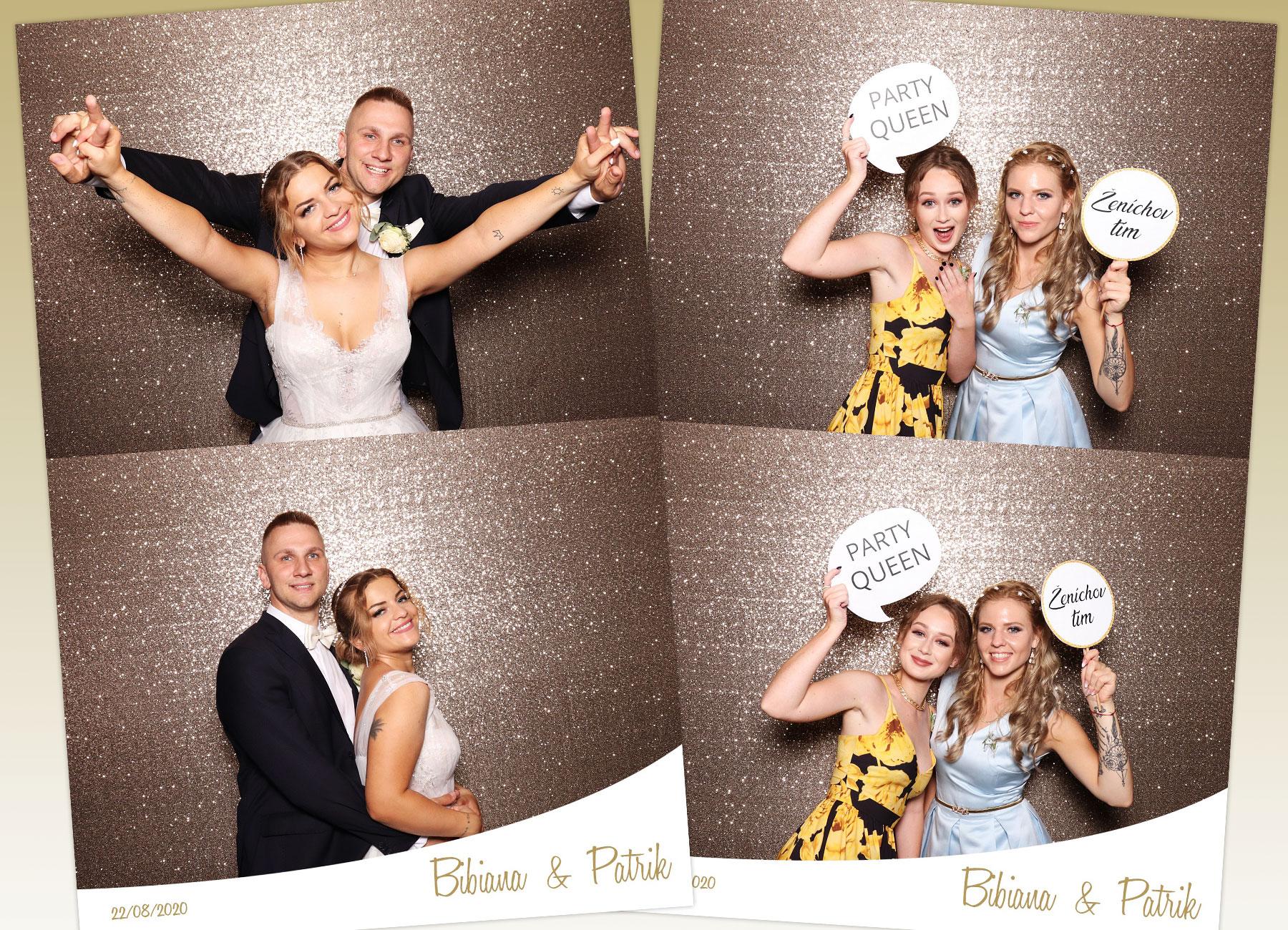 svadba zochova chata modra fotokutik champagne fotostena